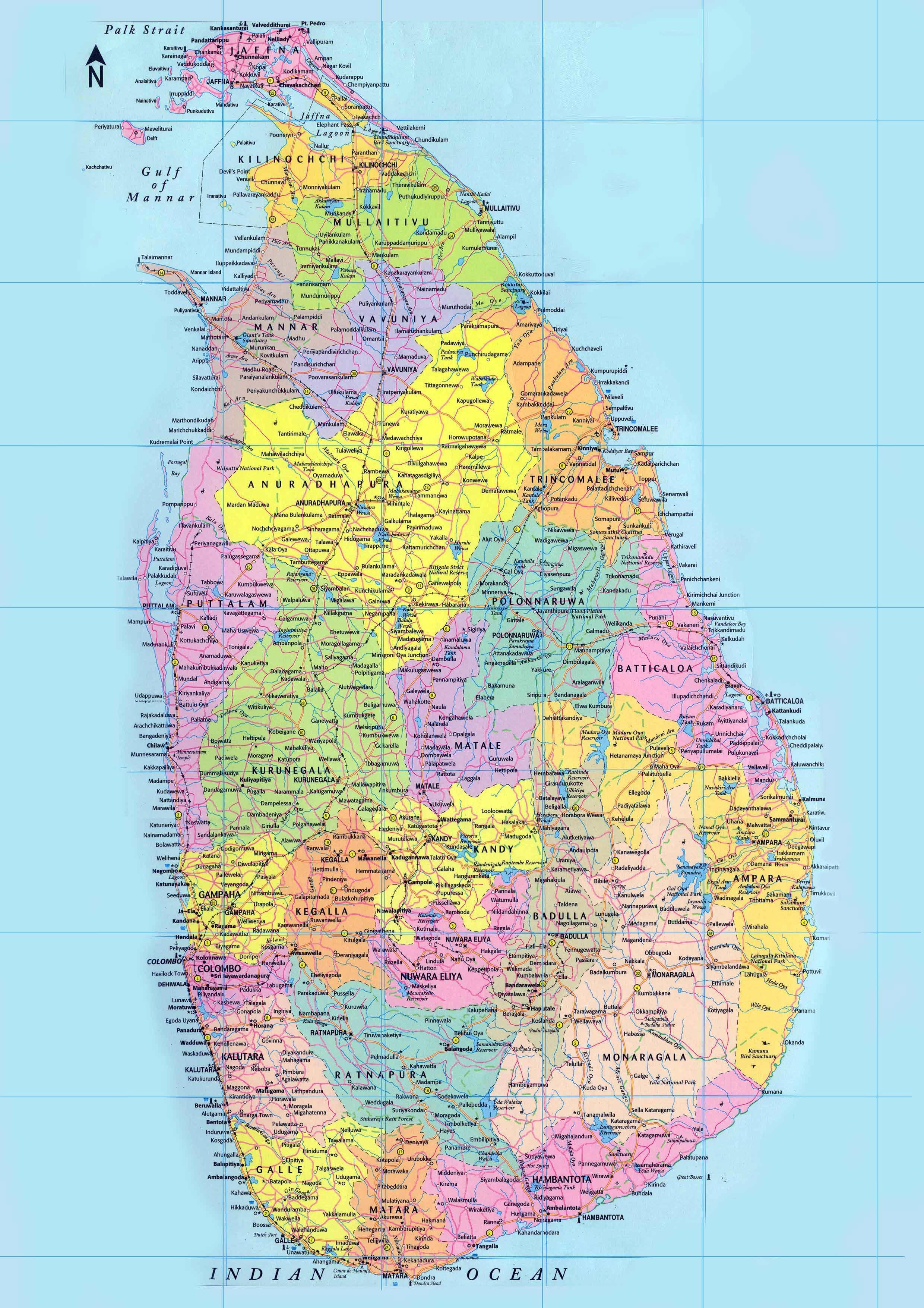 Shri Lanka Na Singalskom Karta Podrobna Karta Na Shri Lanka S